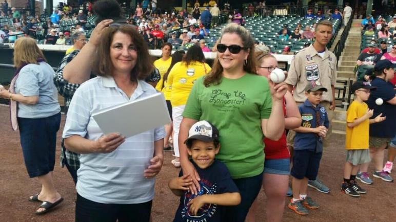 Angelia Reed getting ready to throw the first pitch of the Lancaster Barnstormers June 24, 2016 game.