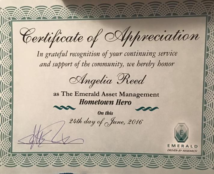 Angelia's certificate of appreciation.