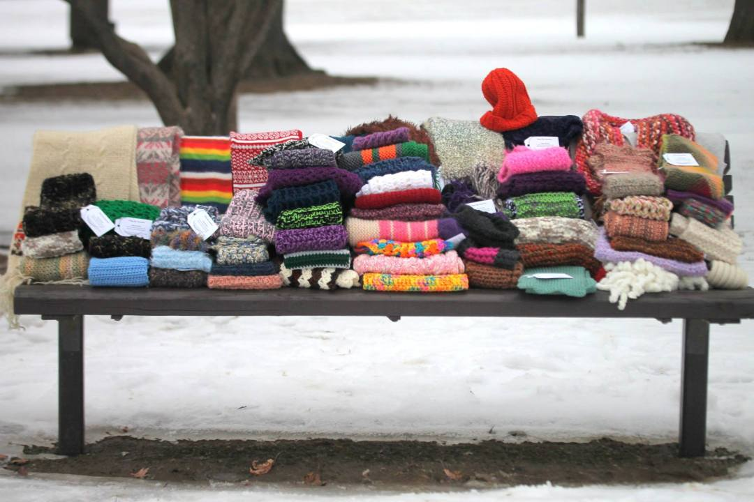 Scarves on a bench