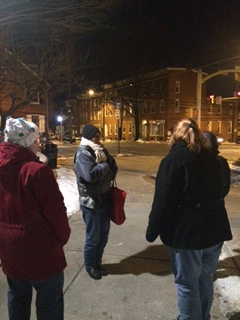 WUL volunteers braving the cold to start a scarf-bombing!