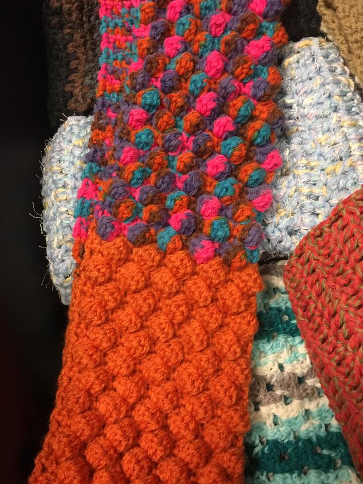 Scarves for January's scarf-bombing by WUP.